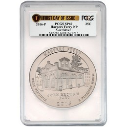2016 P ATB Harpers Ferry 5 oz Silver Quarter PCGS SP69 First Day of Issue