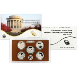 2017  5pc America The Beautiful Clad Quarters Proof Set OGP