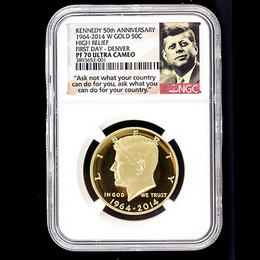 2014 W Gold 50th Ann. Kennedy HR NGC PF70 UC FD Denver