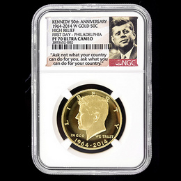 2014 W Gold 50th Ann. Kennedy HR NGC PF70 UC FD Philly