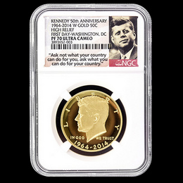 2014 W Gold 50th Ann. Kennedy HR NGC PF70 UC FD Wash. DC