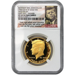 2014 W Gold 50th Ann. Kennedy HR NGC PF69 UC FD Denver
