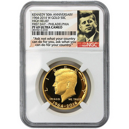2014 W Gold 50th Ann. Kennedy HR NGC PF69 UC FD Philly