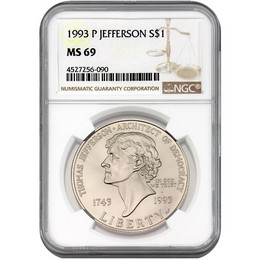 1993 P Jefferson Commem Dollar NGC MS69