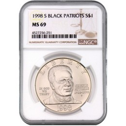 1998 S Black Revolutionary War Patriot Commem NGC MS69