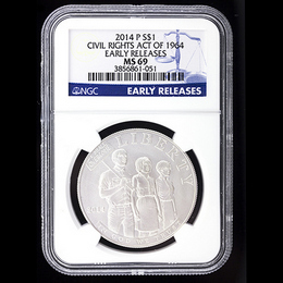 2014 P Civil Rights Act Of 1964 Commemorative Dollar NGC MS69 ER