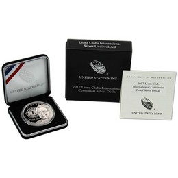 2017 P Lions Clubs International Centennial Proof Silver Dollar in OGP