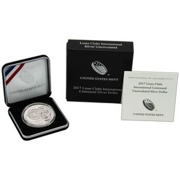2017 P Lions Clubs International Centennial Uncirculated Silver Dollar in OGP
