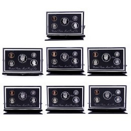 1992-1998 Premier Silver Proof Sets (7 sets) in OGP