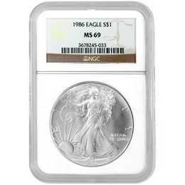 1986 Silver Eagle NGC MS69 Brown Label