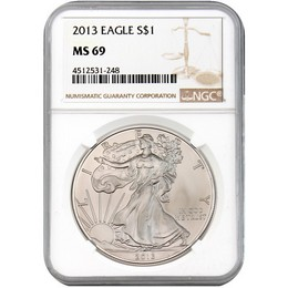 2013 Silver Eagle NGC MS69 Brown Label