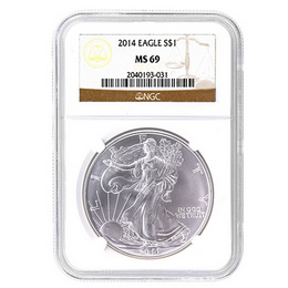 2014 Silver Eagle NGC MS69 Brown Label