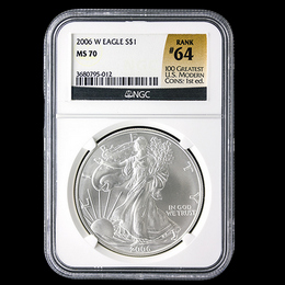 2006 W-Burnished Silver Eagle NGC MS69 #64 Top 100 Label
