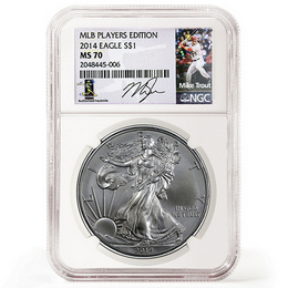 2014 Silver Eagle NGC MS70 'Mike Trout' Label