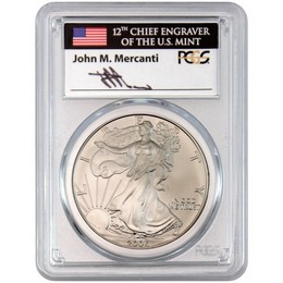 2006 W Burnished Silver Eagle PCGS SP70 Mercanti Signed
