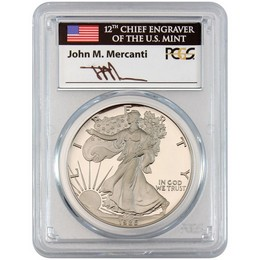 1986 S Proof Silver Eagle PCGS PR70 DCAM Mercanti Signed