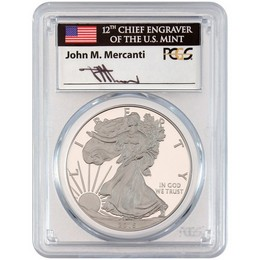 2015 W Proof Silver Eagle PCGS PR70 DCAM Mercanti Signed