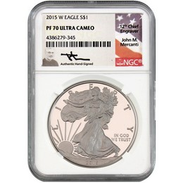 2015 W Proof Silver Eagle NGC PF70 UC Mercanti Signed