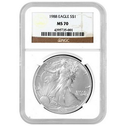 Indiana Estate Hoard: 1988 Silver Eagle NGC MS70 Serial #4395735-001