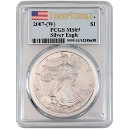 Indiana Estate Hoard: 2007(W) Silver Eagle PCGS MS69 First Strike