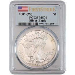 Indiana Estate Hoard: 2007(W) Silver Eagle PCGS MS70 First Strike