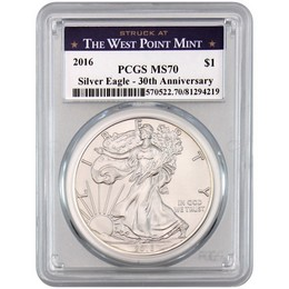 2016 Silver Eagle PCGS MS70 WP Mint Blue Label