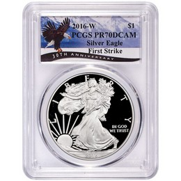 2016 W Proof Silver Eagle PCGS PR70 DCAM First Strike Eagle Label