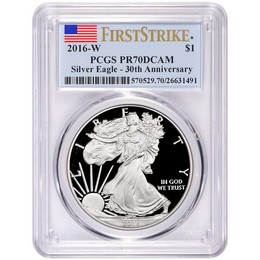 2016 W Proof Silver Eagle PCGS PR70 DCAM First Strike Flag Label