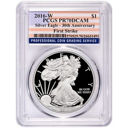 2016 W Proof Silver Eagle PCGS PR70 DCAM First Strike Large Flag Label