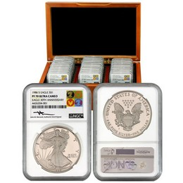 '86-'16 Proof Silver Eagles NGC PF70 UC Mercanti Icon Label - only 30 produced!