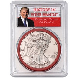 2017 Silver Eagle PCGS MS70 FDI 1of 2000 Trump 'History In Your Hands' Label