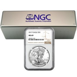 2017 Silver Eagle NGC MS69 Brown Label (20 count) + NGC Box
