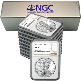 2017 Silver Eagle NGC MS70 Brown Label (10 count) + NGC Box