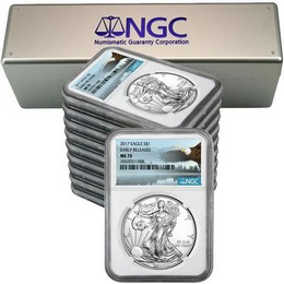 2017 Silver Eagle NGC MS70 ER Eagle Label (10 Count) + NGC Box