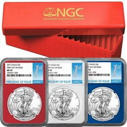 2017 Red, White Blue Silver Eagle Set NGC MS70 First Day Issue