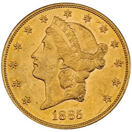 Wylie Texas Collection: 1885 S $20 Gold Liberty AU+