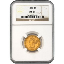 Wylie Texas Collection: Random Date (1880's) $5 Gold Liberty NGC MS61