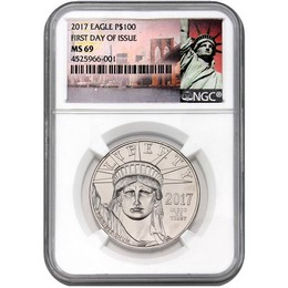 2017 20th Ann. 1oz Platinum Eagle NGC MS69 FDI N.Y. Label