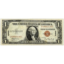 WWII Hawaii Emergency Currency $1 Silver Certificate Very Fine or Better
