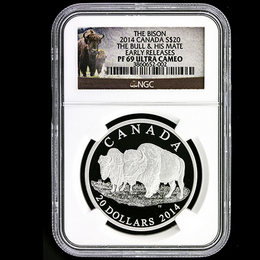 "2014 $20 RCM Bison Series ""The Bull & His Mate"" NGC PF69 ER w/OGP"