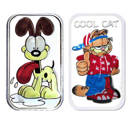 Garfield 'Cool Cat' & Odie Enameled 1oz Silver Bars