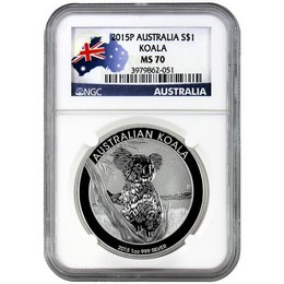 2015 P Australia $1 Silver Koala NGC MS70 Country label