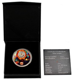 2016 $5 Solar System 1oz Silver Proof w/Meteorite Glass - mintage just 1000!