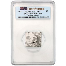 2017 Cook Islands $5 Silver Time Capsule PCGS PR70 First Strike