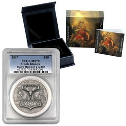 2017 Silver Thor's Hammer 2oz Silver High Relief PCGS MS70