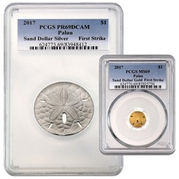 2017 Palau Gold & Silver Sand Dollar Set PCGS 69 First Strike