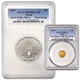 2017 Palau Gold & Silver Sand Dollar Set PCGS 70 First Strike
