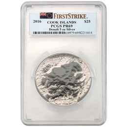 2016 'Summits Series' 5oz Silver Denali PCGS PR69 First Strike