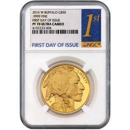 2016 24kt Gold $50 Buffalo NGC PF70 First Day Issue Label