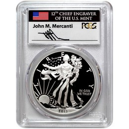 2013 W Specially Enhanced Silver Eagle PCGS SP70 Mercanti Signed Label